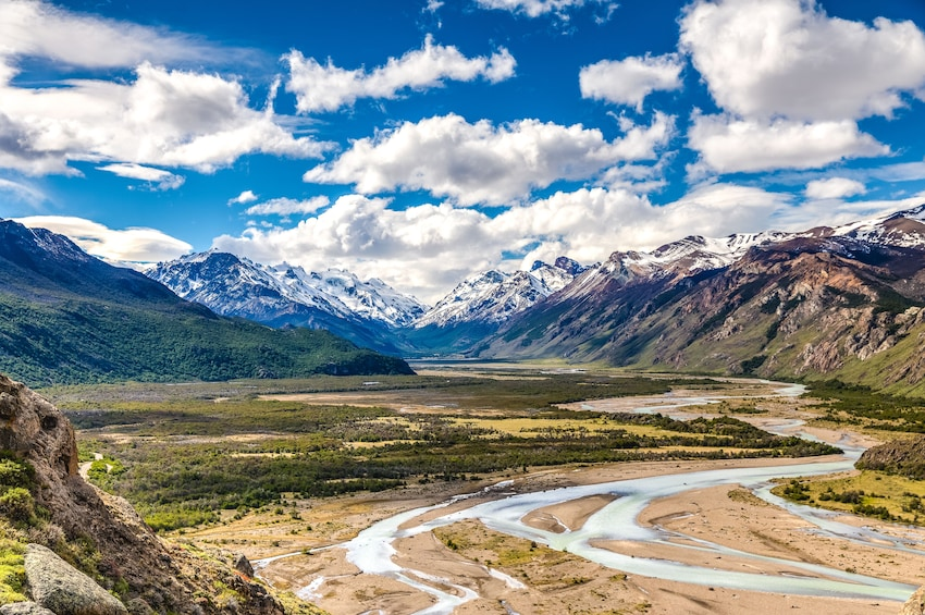 Show item 3 of 8. Panoramic view of snowy mountains and plains of Patagonia, South America