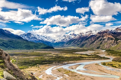 Panoramic view of snowy mountains and plains of Patagonia, South America