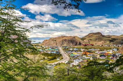 Panoramic view of colorful homes in valley in Patagonia