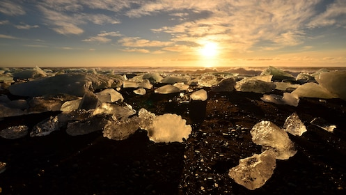 Large chunks of ice on the beach in Iceland