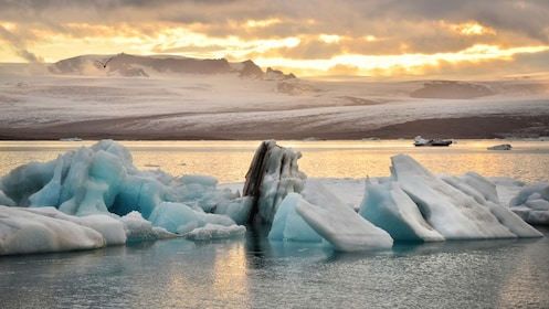 Glacial ice in the water in Iceland