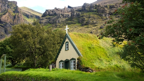 Small grass-covered church in Iceland
