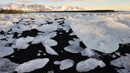 Large pieces of ice on a beach in Iceland
