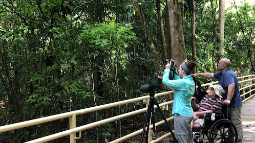Family taking picture of the jungle at Manuel Antonio National Park in Costa Rica