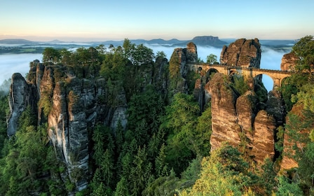 The Bastei Bridge in the mountains of Switzerland