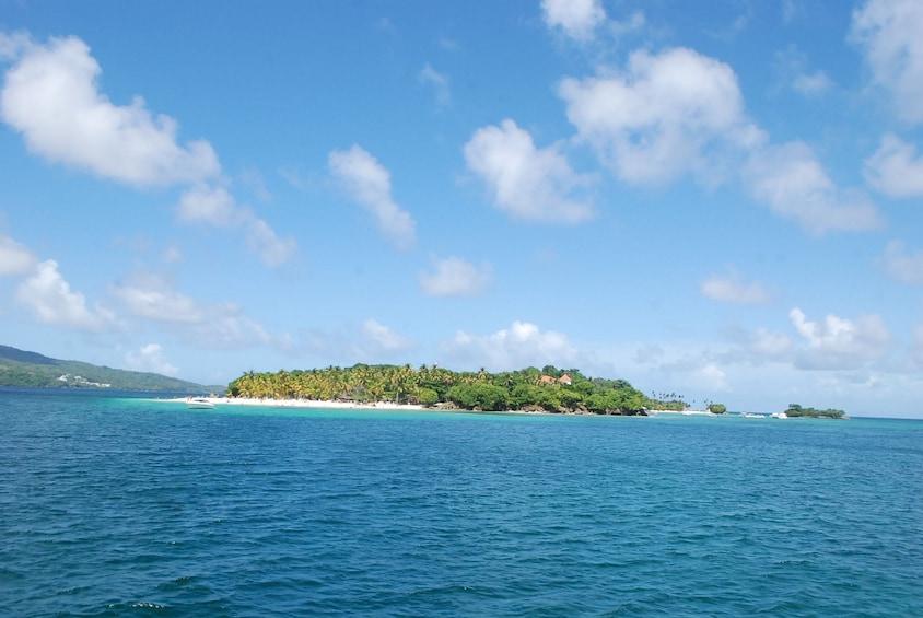 View of Cayo Levantado from the ocean
