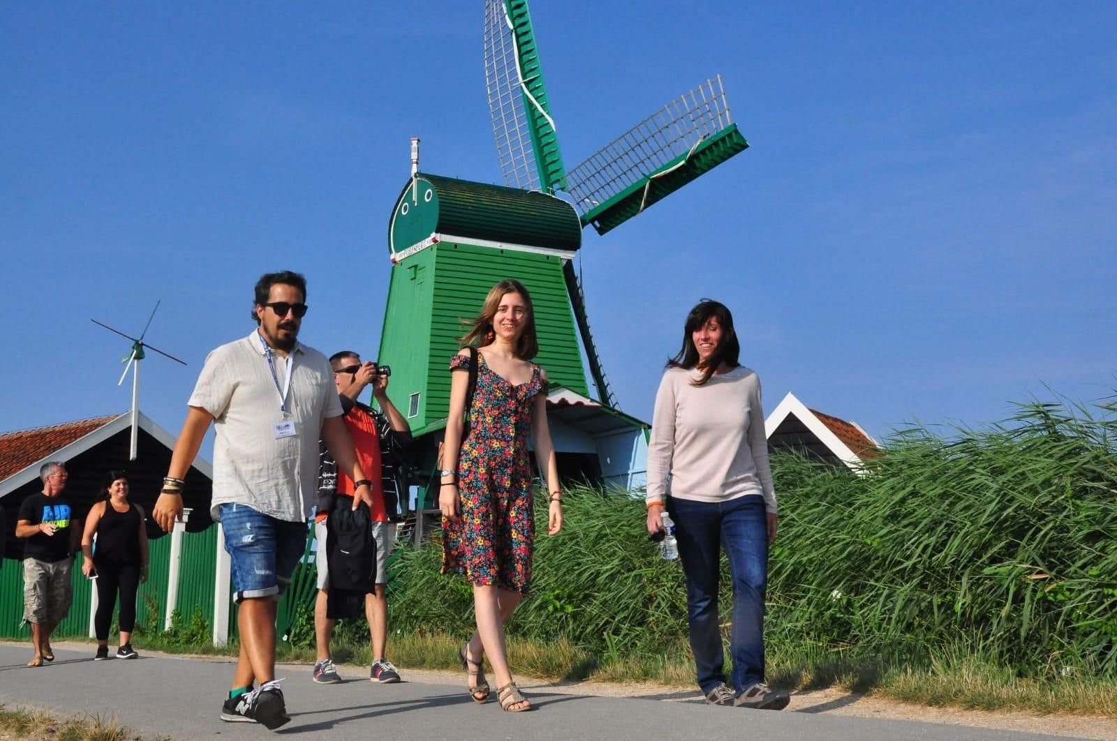 Group visiting the mills in Amsterdam