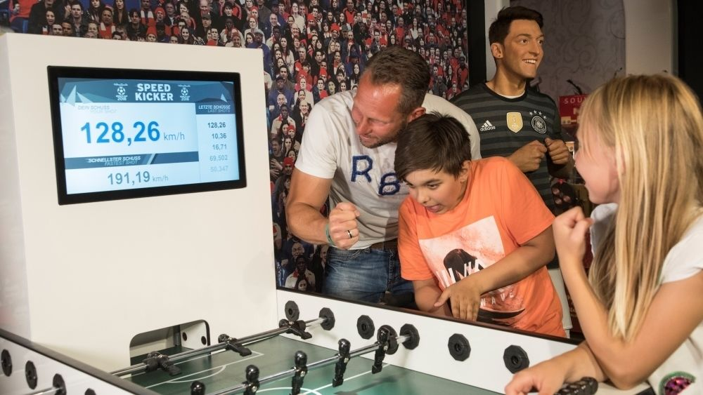 Family Foosball game at Madame Tussauds Berlin