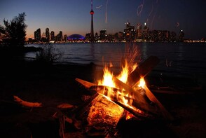 Camp fire on Toronto Islands