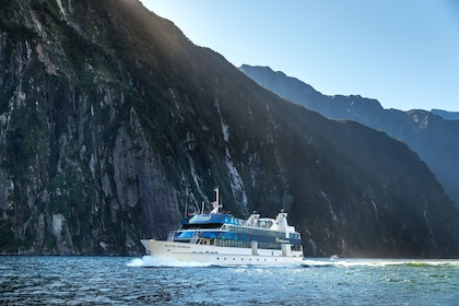 Boat cruising around Milford Sound