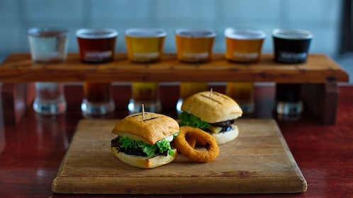 Burgers, onion rings, and beers at Monteith's Brewery