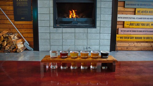 A beer sampler at Monteith's Brewery