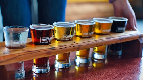 Beer sampler at Monteith's Brewery