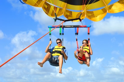 Two people parasailing in Miami