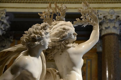 Sculptures seen at the Borghese Gallery in Rome
