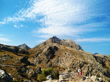 Hiking couple in mountains in Mallorca
