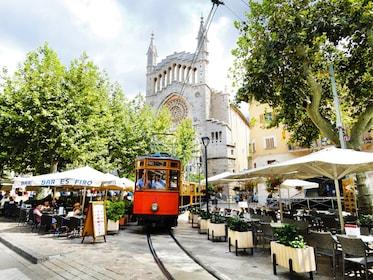 Tram going through the city in Mallorca