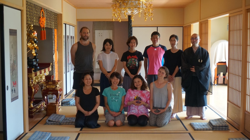 Yoga class with instructor in Kyoto, Japan