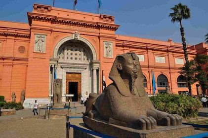 Sphinx statue outside The Museum of Egyptian Antiquities