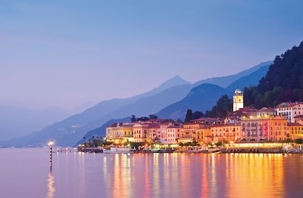 Night view of Lake Como in Italy