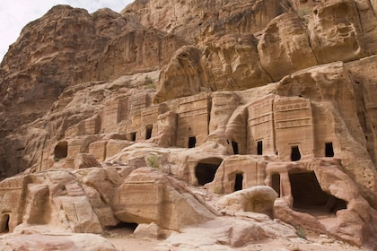 Ancient building carved into the mountains of Petra