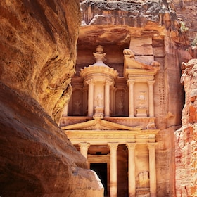 Building carved into the mountain in Petra