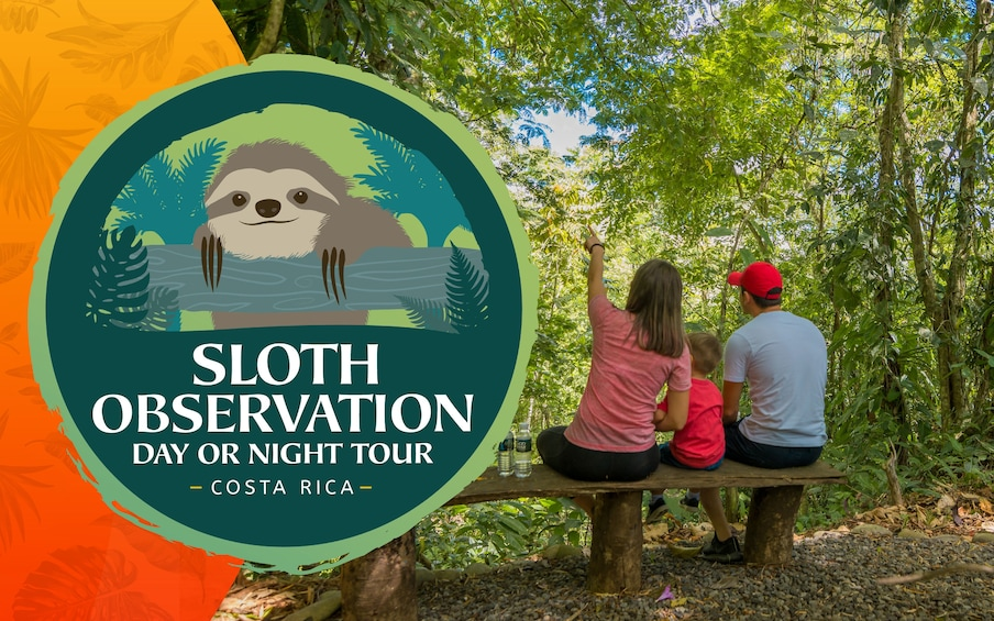 Show item 1 of 6. Family sits on bench in La Fortuna Forest with large sloth observation logo
