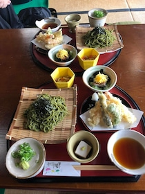 Table full of food at a Kyoto restaurant