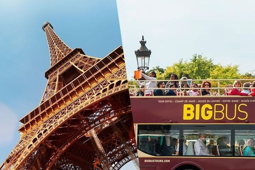 Show item 1 of 1. Split image of the Eiffel Tower and a tour bus in Paris