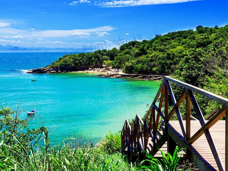 Show item 10 of 10. Steps to the beach and the clear blue water of Buzios