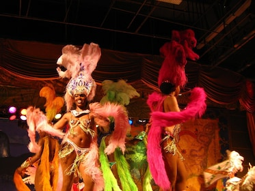 Dancers in colorful costumes onstage in Rio de Janeiro