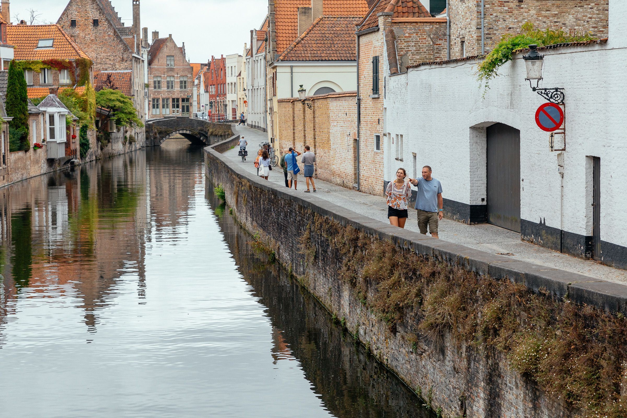 Tourists walking the streets of Bruges
