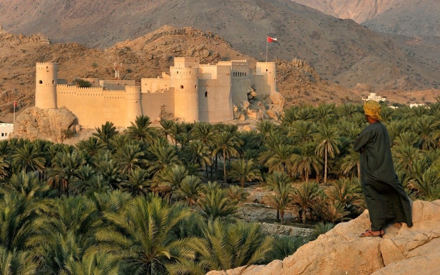 Show item 1 of 2. a man looks over a fort at the oasis of Nakhl