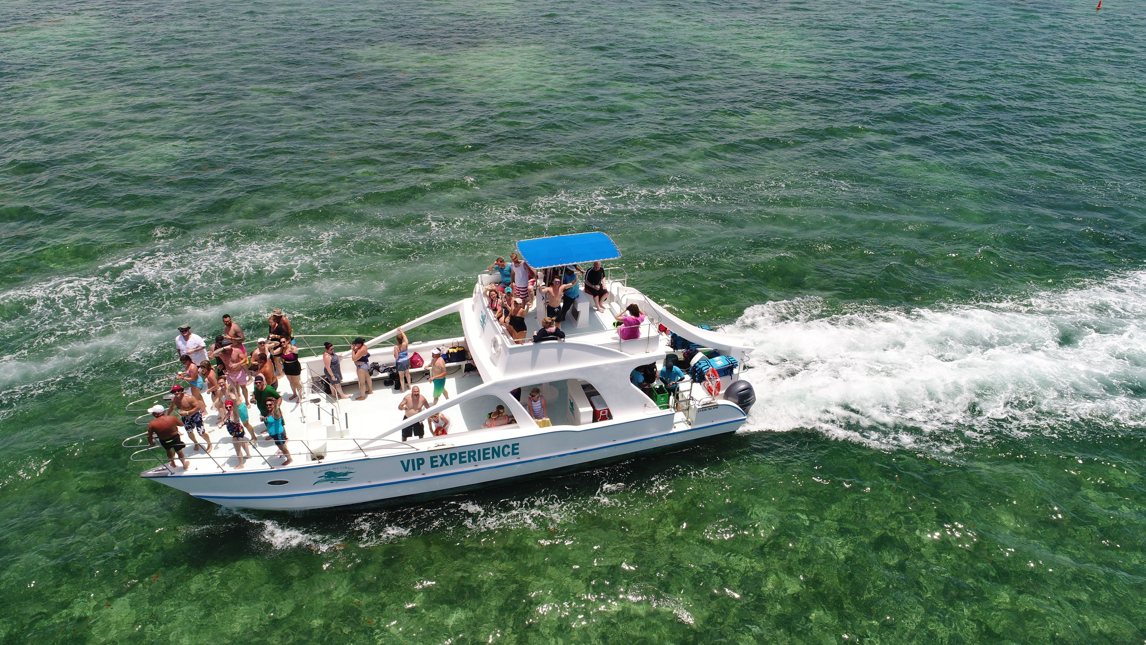 Aerial view of a group on a catamaran in Punta Cana