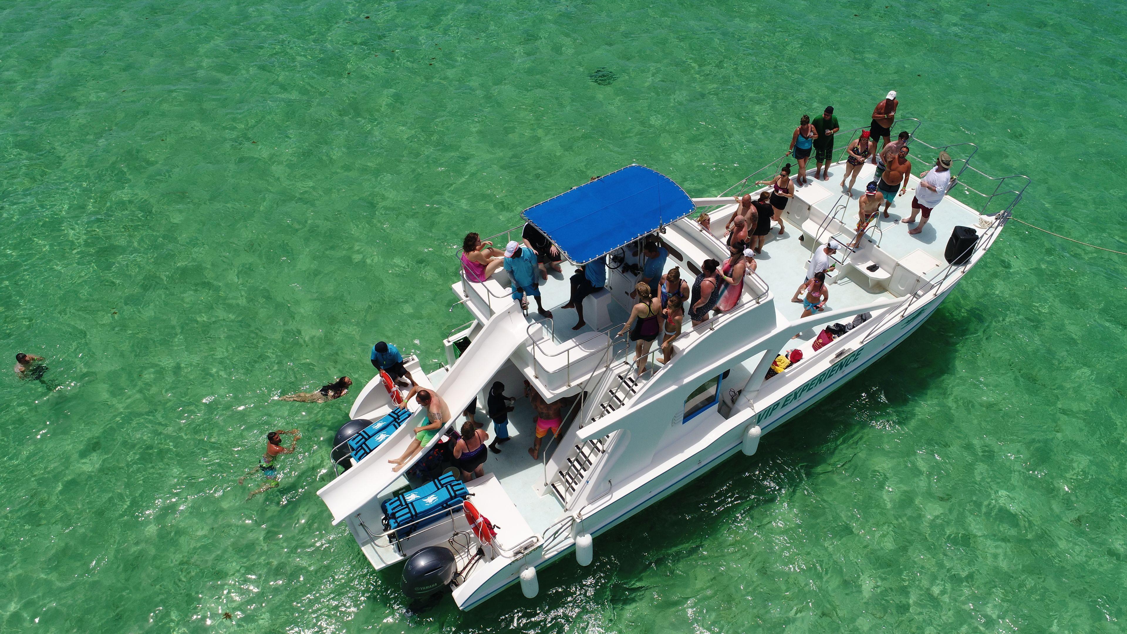 Aerial view of a catamaran group tour in Punta Cana
