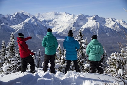 Group on a snowshoe tour of Lake Louise
