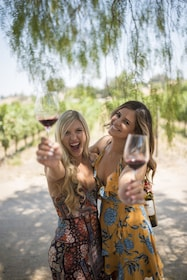 Women with red wine glasses and a bottle of red wine in Santa Barbara