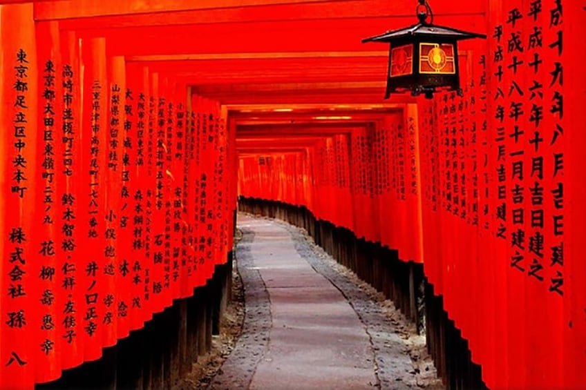 Show item 4 of 5. Path lined with torii gateways in Japan
