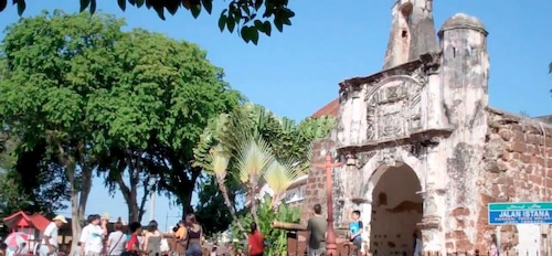 Visitors at A Famosa fortress in Malacca City, Malaysia