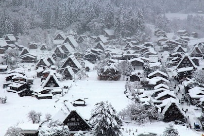 Snow-covered village in Japan