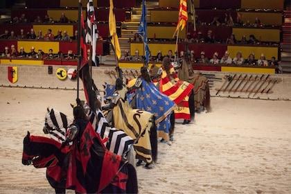 Jousting performers on horseback at Medieval Times in Atlanta