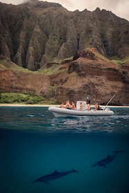 View of the guided boat tour of the N? Pali Coast State Park