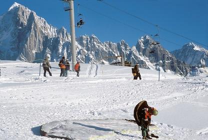 Skiiers at Chamonix near the Mont-Blanc massif
