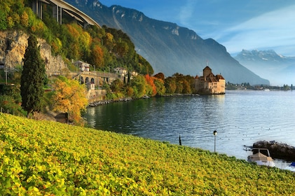 Day view of Chillon Castle in Veytaux, Switzerland