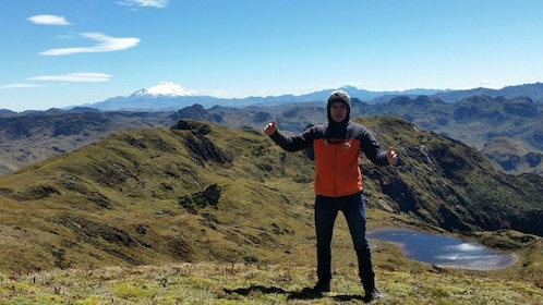 Man visiting the Cayambe-Coca Ecological Reserve