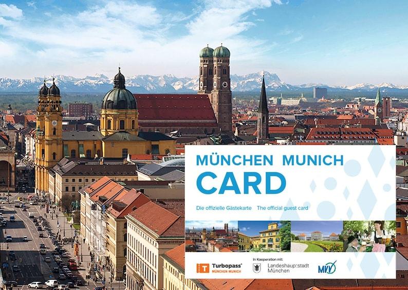 Foto 1 von 7 laden Aerial view of Munich with Munich card superimposed