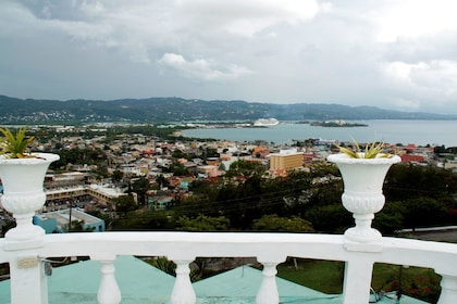 View of coast and city from a balcony in Jamaica