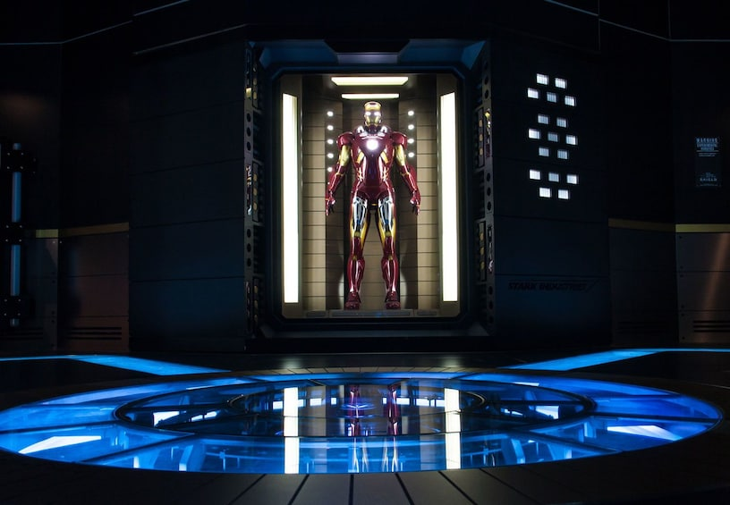 Show item 1 of 5. Illuminated Ironman suit on display at Marvel Avenger's S.T.A.T.I.O.N. exhibit