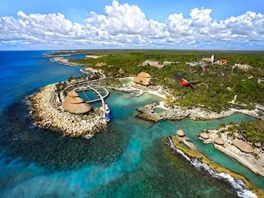 Aerial view of Xcaret Park in Playa del Carmen