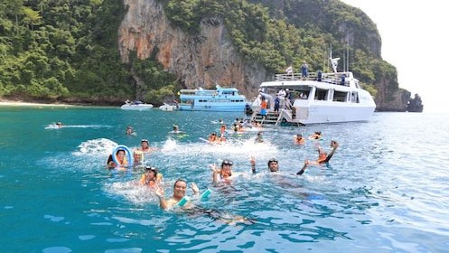 Snorkeling group in the Phi Phi Islands